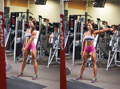 Cable lateral raise girl