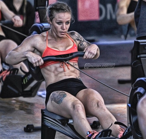 Girl on rowing machine